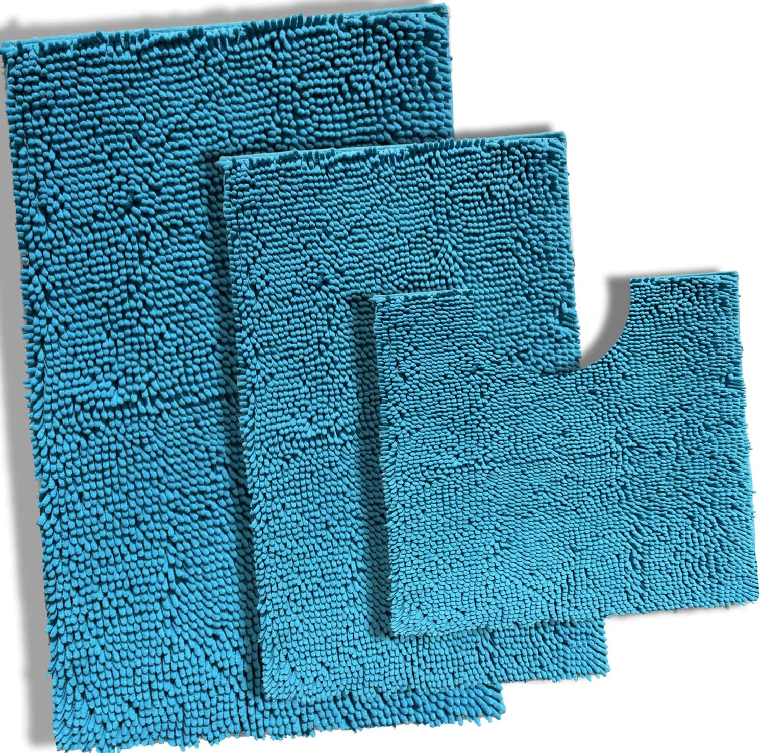 Teal Blue Detroit Mall Bathroom Brand new Rugs Set 3 Extra Chenille Bath Mat Sof Piece