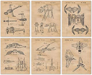 Vintage Star Wars Vessels Vehicles Patent Art Poster Prints, Set of 6 Photos (8x10) Unframed, Great Wall Art Decor Gifts U...