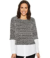 Vince Camuto - Long Sleeve Metallic Knit Mix Media Top