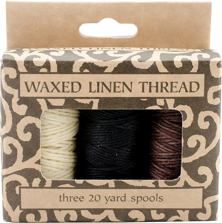 Thread  .4mm dia Spool Medium BROWN Bead Cord 180 yd 3 Ply WAXED Linen
