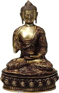 Brass Gift Center Buddha Statue Showpiece - 36 cm (Brass Gold Brown Copper)