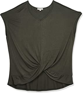 Paper + Tee Women's Plus-Size V-Neck Draped Top