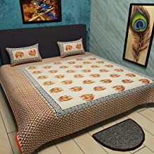 traditional mafia Ethnic Collection 100% Pure Cotton Printed Double Bedsheet with 2 Pillow Covers, King, Orange