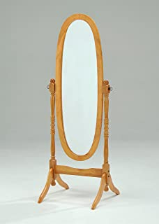 Wooden Cheval Floor Mirror, Oak Finish