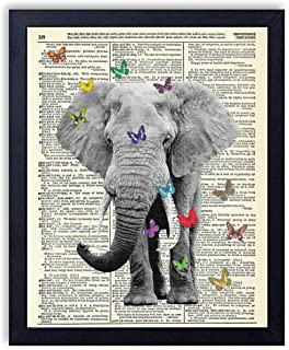20.32 x 25.4 cm Unframed Elephant With Butterflies Upcycled Wall Art Vintage Dictionary Art Print 8x10 inches Gold Foil