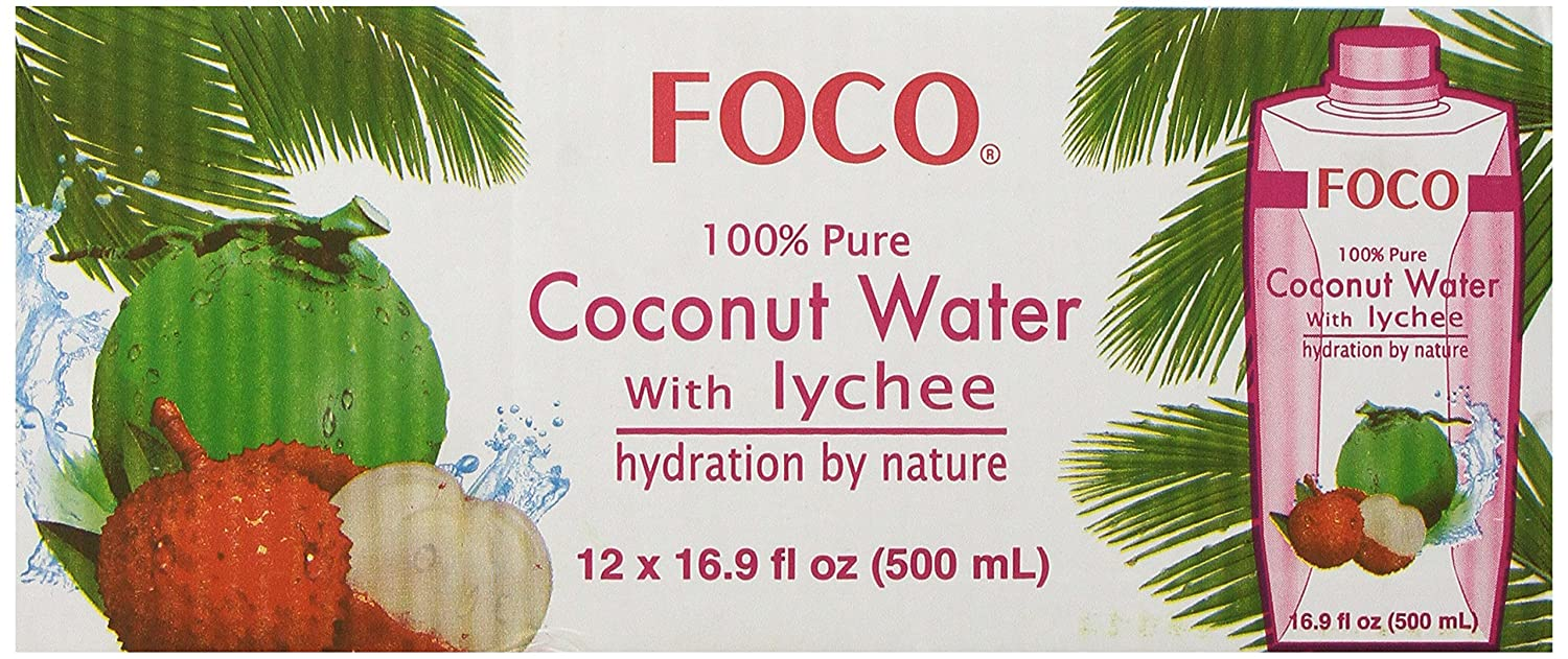 FOCO Pure Coconut Water with Lychee 12 New Shipping Free Shipping 16.9 Long Beach Mall Pack of Ounce
