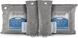 Bierre 4 Pack, 100% Bamboo Activated Charcoal Air Purifying Bags - Eco Friendly Natural Odor Remover - Unscented, Non Chemical - Removes Bacteria, Allergens, Pollutants, Absorbs Moisture, Mold, Mildew