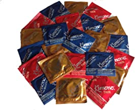 Kimono Pleasure Pack (Thin, Microthin, and Textured) Lubricated Latex Condoms, 24 Count