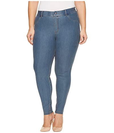 HUE Plus Size Essential Denim Leggings (Stone Acid Wash) Women