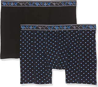 Scotch & Soda 2-Pack Dots Print Men's Boxer Briefs Patterned Waistband, Black/Navy