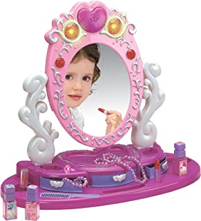 Dresser Vanity Beauty Set - Pink Princess Pretend Play Dressing Table Top Set with Makeup Mirror, Jewelry and Accessories - Music and Lights for Little Girls