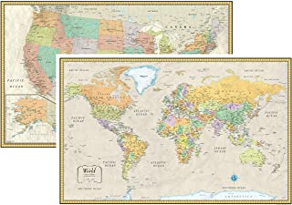 """RMC 32"""" x 50"""" Classic United States USA and World Wall Map Set (Classic Edition)"""