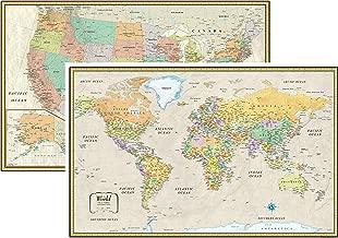 RMC Classic United States USA and World Wall Map Set (Laminated)