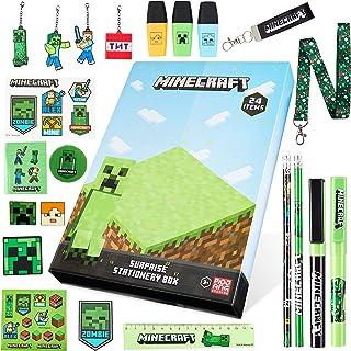 Minecraft Adventskalender 2021, adventskalender voor schrijfwaren en kinderen, adventskalender met schrijfwaren set