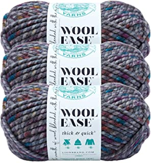 (3 Pack) Lion Brand Yarn 640-527 Wool-Ease Thick and Quick Yarn, 80 Meters, Abalone