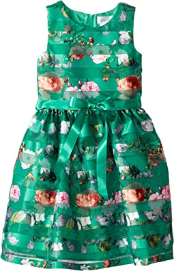 Sleeveless Organza Striped Floral Dress with Full Skirt (Big Kids)