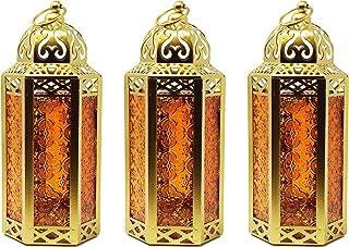 Gold Decor Candle Lanterns Decorative for Bathroom, Medium, Amber, Set of 3