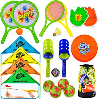 8 in 1 Outdoor Sports Toy Backpack Set, Including Scoop Ball, Ball Toss Bag, Pickleball, Racket & Badminton, Parachute Gli...
