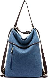 LOVEVOOK Canvas Rucksack Tasche Damen 2 in 1 Handtasche Damen Herren Schultertasche Groß Umhängetasche Damen Anti Diebstahl Daypack für Alltag Büro Schule Ausflug Einkauf - Blue