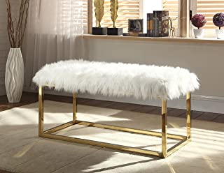 Iconic Home Marilyn Bench Ottoman Faux Fur Brass Finished Stainless Steel Metal Frame, Modern Contemporary, Beige