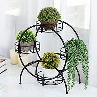 MyGift Round Metal Tabletop Planter Stand - Holds 4 Mini Pots