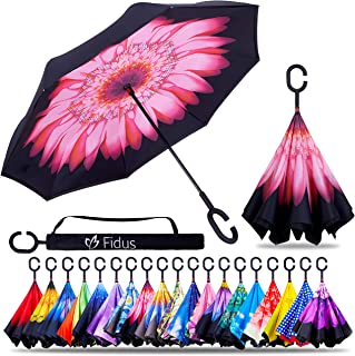 Fidus Double Layer Inverted Reverse Umbrella, Winproof Waterproof UV Protection Self Stand Upside Down Car Golf Outdoor Rain Umbrella with C-Shaped Handle
