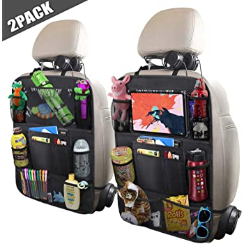 """ULEEKA Car Backseat Organizer with 10"""" Table Holder, 9 Storage Pockets Seat Back Protectors Kick Mats for Kids Toddlers, Travel Accessories, Black, 2 Pack"""
