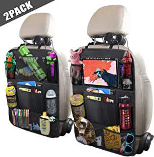 """ULEEKA Car Backseat Organizer with 10"""" Tablet Holder + 9 Storage Pockets Seat Back Protectors Kick Mats for Toy Bottle Book Drink, Universal Fit Travel Accessories for Kid & Toddlers (2 Pack)"""