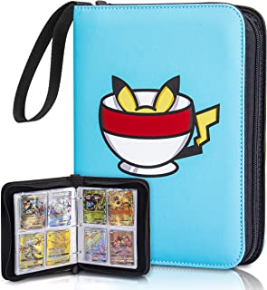CloverCat Waterproof 4 Pocket Trading Card Binder - Compatible with Amiibo Yugioh, MTG and Other TCG - Baby Blue - Portabl...