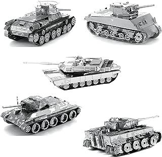 Fascinations Metal Earth Tanks 3D Metal Model Kits - M1 Abrams - Tiger 1 - T-34 - Chi-Ha - Sherman - Set of 5