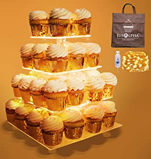 Jusalpha 4 Tier Square Cupcake Stand - Premium Cupcake Holder - Acrylic Cupcake Tower - Ideal for Weddings Birthday Parties, Candy Bar Decor (LED Light Option: USB, 4 Tier)