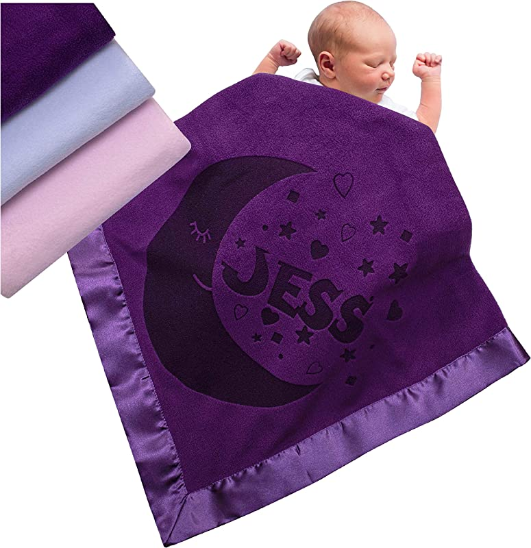 Personalized Baby Blankets Newborn Gifts For Boys Girls Nursery D Cor With Moon Design And Name 3 Different Color Options D10