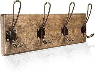 Wall Mounted Coat Rack - Rustic Wooden 4 Hook Coat Hanger Rail, Distressed Wood, Antique Brass Hooks