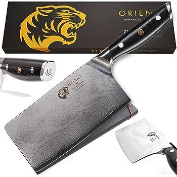 Damast AUS-10 Couteau de cuisine professionnel en acier inoxydable japonais avec protection de lame et couteau de cuisine 67 l Livré dans un coffret cadeau avec protège-lame