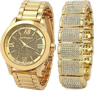 Men's 14k Gold Plated Hip Hop Fashion MIYKON Watch G Stardust & Fully Cz Bracelet Dome Wrist
