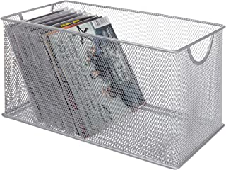 MyGift Silver Mesh Metal CD Holder Box Organizer, Open Storage Bin