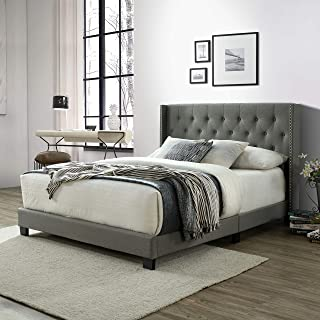 Queen Bed Frame, Upholstered Platform Bed with Tufted Headboard, Wood Slat Support, Linen Fabric, Queen Size, Gray