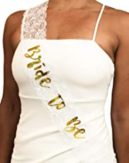 Bride to Be Bachelorette Party Sash   Engagement Bridal Wedding   Chic Gold Glitter Lettering on White Lace   Hen Party Accessories Decoration   by CC Party Co.