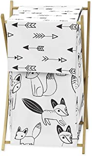 Sweet Jojo Designs Baby Children Kids Clothes Laundry Hamper for Black and White Fox and Arrow Bedding Set