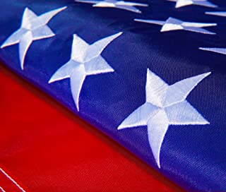 Hauffmann United Flags American USA US Flag Deluxe Embroidered Stars, Heavy Duty Durable Flags Built for Outdoors, Vivid Color, Sewn Stripes, Brass Grommets, Outside (5x8 FT Embroidered Stars)