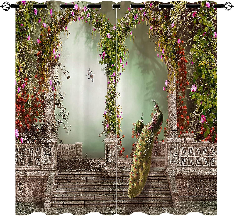 Peacock Blackout ブランド激安セール会場 Curtains 3D Illustration Flower of R 激安通販 Gate Bird