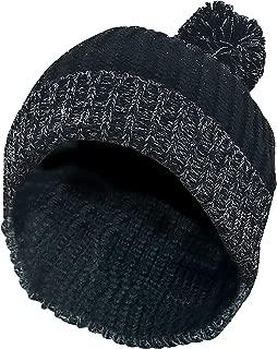 Mens Thick Chunky Knit Red Black Winter Warm Oversized Beanie Hat with Pom Pom