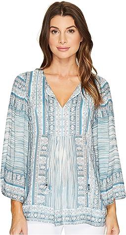 Pretty Brilliant Rayon Dot Woven Long Sleeve Top