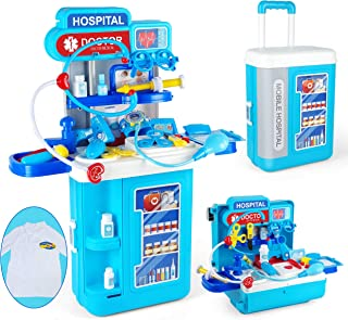 Sponsored Ad - JOYIN 4 in 1 Doctor Medical Toy Pretend Play Set Including Electronic Stethoscope and Doctor Coat, Doctor E...