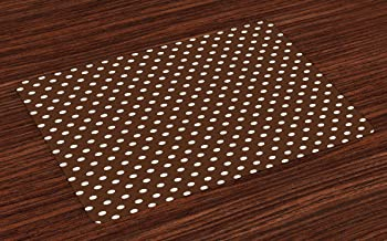 Lunarable Brown Place Mats Set of 4, Nostalgic White Polka Dots on Dark Background Contrast Classic Vintage Elements, Washable Fabric Placemats for Dining Room Kitchen Table Decor, Dark Brown White
