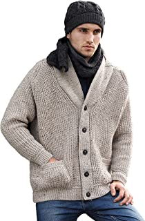 Aran Crafts Men's Ribbed Shawl Cardigan (100% Merino Wool)