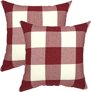 YOUR SMILE Christmas Classic Retro Farmhouse Buffalo Tartan Checkers Plaid Cotton Linen Decorative Throw Pillow Case Cushion Cover Pillowcase for Sofa 18 x 18 Inch, Set of 2, Red White