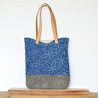 8ef91c8639be Organic Shoulder Bag with Mitsuba Sashiko Pattern on Indigo with Waxed  Canvas Bottom