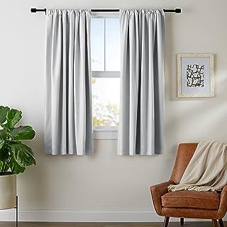 "AmazonBasics Room Darkening Blackout Curtain Set of 2 with Tie Backs - 245 GSM - (5.25 Feet - Window) 52"" x 63"" - Light Grey"
