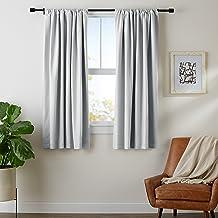 """AmazonBasics Blackout Curtain Set - 52"""" x 63"""", Light Grey"""